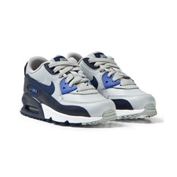 NIKE Grey and Blue Air Max 90 Leather Kids Trainers