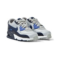 NIKE Grey and Blue Air Max 90 Leather Kids Trainers WOLF GREY/BINARY BLUE-COMET BLUE-WHITE