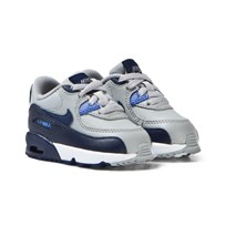 NIKE Air Max 90 Leather Infant Trainers Grå och Blå WOLF GREY/BINARY BLUE-COMET BLUE-WHITE