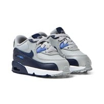 NIKE Grey and Blue Air Max 90 Leather Infants Trainers WOLF GREY/BINARY BLUE-COMET BLUE-WHITE