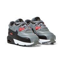 NIKE Air Max 90 Leather Infant Trainers Grå och Orange COOL GREY/BLACK-MAX ORANGE-WHITE