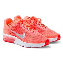 NIKE Air Max Sequent 2 Junior Trainers Coral LAVA GLOW/METALLIC SILVER-MAX ORANGE