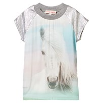 Anne Kurris Horse Print Sweat Dress with Lurex Sleeves Multi