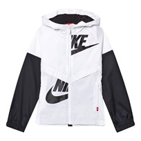 NIKE Black and White Light Hooded Jacket WHITE/BLACK/BLACK/BLACK