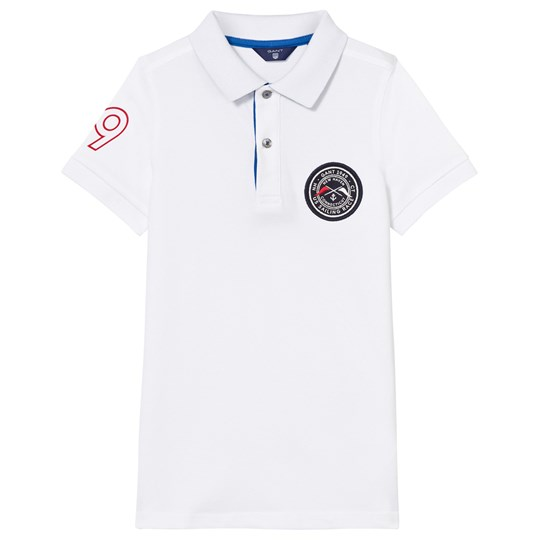 GANT White and Blue Contrast Collar Polo 110