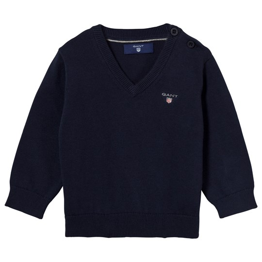 GANT Navy V Neck Cotton Jumper 433