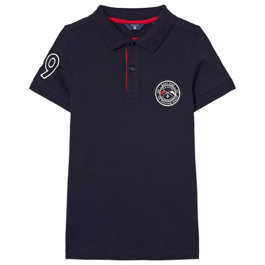 GANT Navy and Red Contrast Collar Polo 410