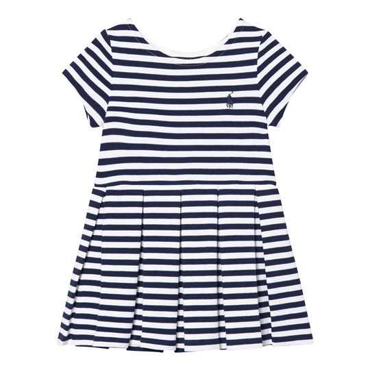Ralph Lauren Blue Stripe Drop Waist Ponte Dress 002