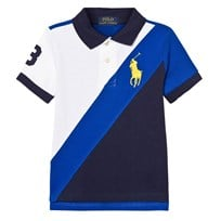 Ralph Lauren White and Navy Banner Stripe Polo with Crest 001