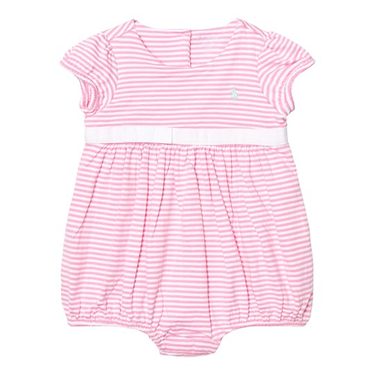 Ralph Lauren Striped Cotton Jersey Romper Garden Rose/Pure White 001