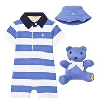 Ralph Lauren Romper, Hat & Bear Gift Set Blue/White 001