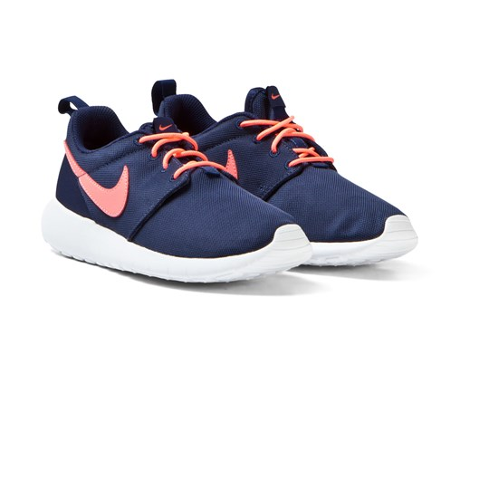 NIKE Navy and Pink Roshe One Trainers BINARY BLUE/LAVA GLOW-WHITE