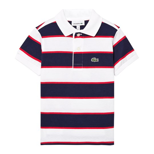 Lacoste Navy, Red and White Pique Polo WVE