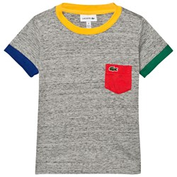 Lacoste T-shirt Grey Marl with Multi Colour Trim