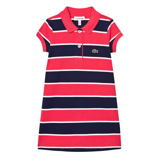 Lacoste Pink and Navy Stripe Pique Polo Dress ZWB