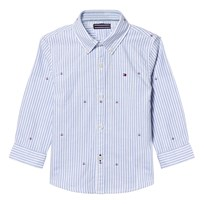 Tommy Hilfiger Blue and White Stripe Oxford Flag Embroidered Skjorta 122