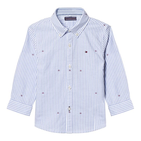 Tommy Hilfiger Blue and White Stripe Oxford Flag Embroidered Shirt 122