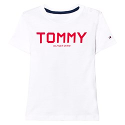 Tommy Hilfiger White and Red Branded Tee