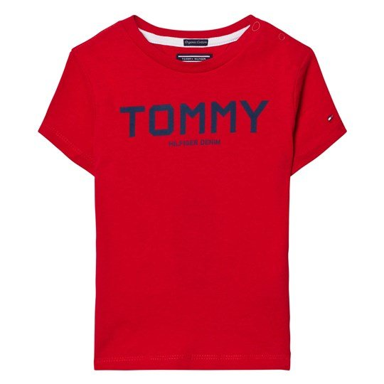 Tommy Hilfiger Red and Navy Branded Tee 699