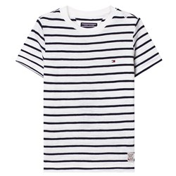 Tommy Hilfiger White and Navy Stripe Tee