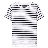 Tommy Hilfiger White and Navy Stripe T-shirt 122