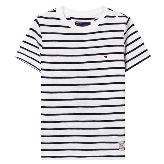 Tommy Hilfiger White and Navy Stripe Tee 122