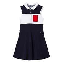Tommy Hilfiger Navy and White Colour Block Sleeveless Dress 431