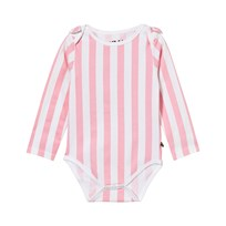 The BRAND Bow Onesie Pink Stripe Pink