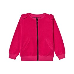 The BRAND Cotton Terry Bow Zip Sweater Pink