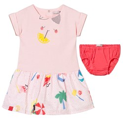 Catimini Pink Multi Jersey and Printed Woven Dress and Knickers