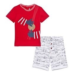 Catimini Tee and Shorts set Red and White Paris Scribble