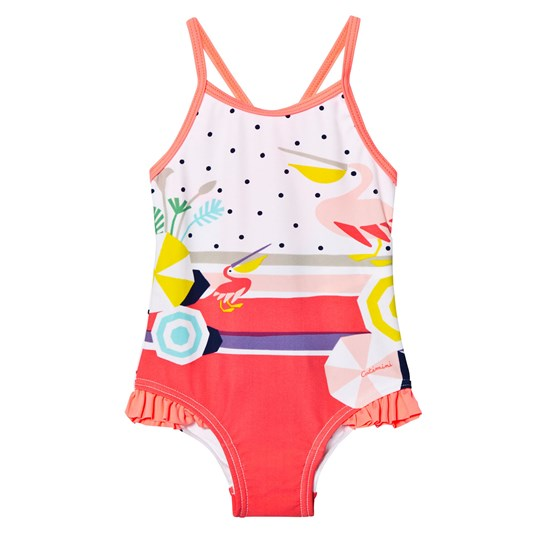 Catimini Multi Pelican and Spot Print Swimsuit 01