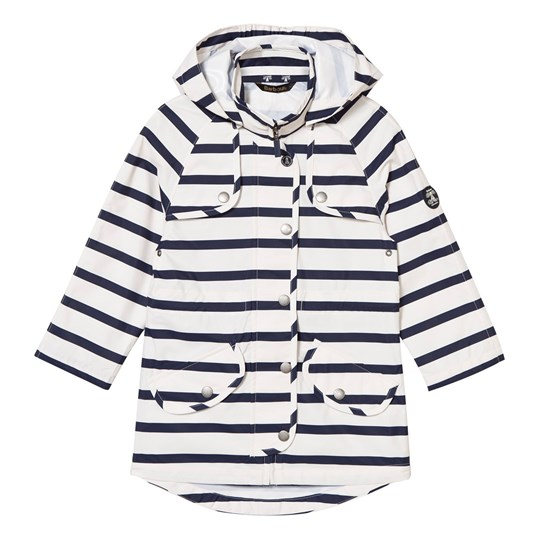Barbour Navy and White Trevose Stripe Waterproof Detachable Hooded Jacket NY71