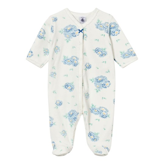 Petit Bateau White Velour with Blue Floral Print Babygrow 10
