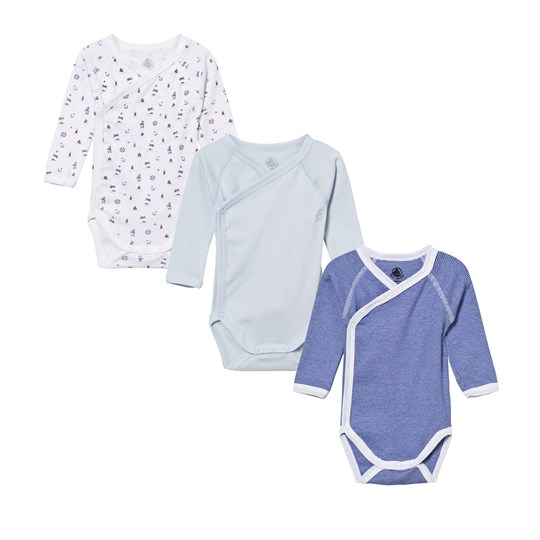 Petit Bateau 3 Pack of Printed and Stripe Cross Over Bodies 00
