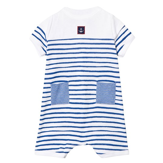 Petit Bateau Blue and White Stripe Romper with Anchor Patch 50