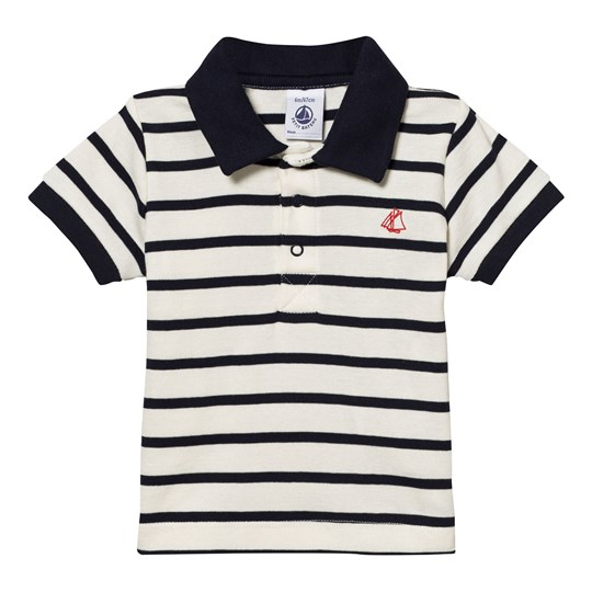Petit Bateau Navy and White Jersey Polo 63