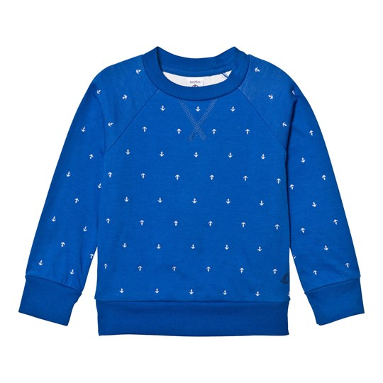 Petit Bateau Blue Embroidered Anchor Print Sweatshirt 35