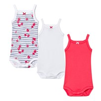 Petit Bateau 3 Pack of Pink, White and Floral Baby Bodies 00