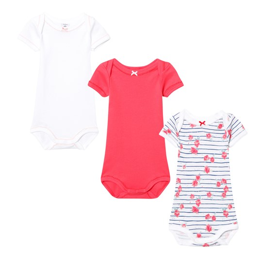 Petit Bateau 3 Pack of Pink, White and Floral Short Sleeve Bodies 00