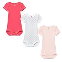 Petit Bateau 3 Pack Baby Body Pink, Mint Floral and Solid 00