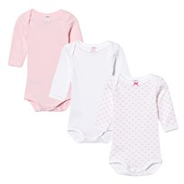 Petit Bateau 3 Pack of Pale Pink and White Print and Solid Long Sleeve Bodies 00