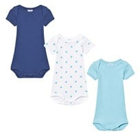Petit Bateau 3 Pack of Blue and White Star and Solid Short Sleeve Bodies 00
