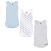 Petit Bateau 3 Pack Vest Baby Body Blue, Grey and White Boat Print 00