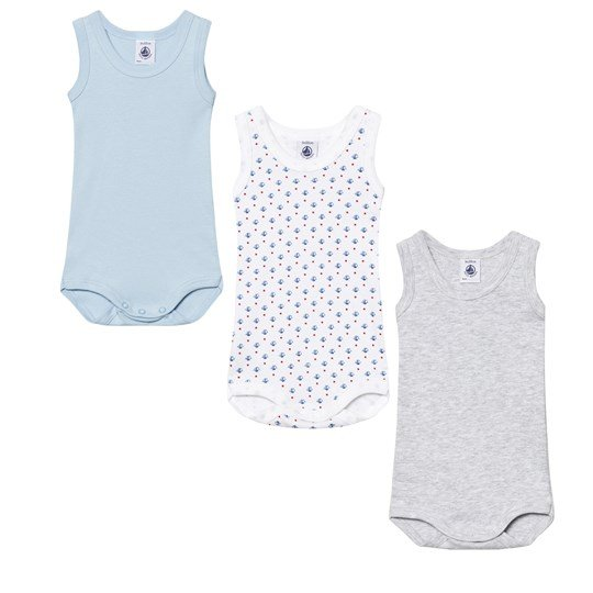 Petit Bateau 3 Pack of Blue,  Grey and White Boat Print Vest Bodies 00