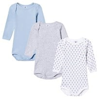 Petit Bateau 3 Pack of Blue,  Grey and White Boat Print Long Sleeve Bodies 00