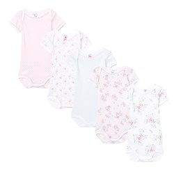 Petit Bateau 5 Pack of Pink, Mint, Spot and Floral Short Sleeve Bodies