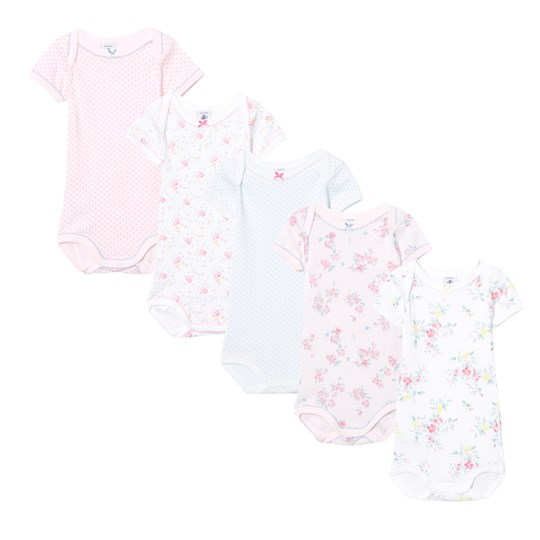 Petit Bateau 5 Pack of Pink, Mint, Spot and Floral Short Sleeve Bodies 00