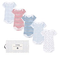 Petit Bateau 5 Pack of Blue, White and Red Print Short Sleeve Baby Body 00