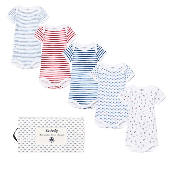 Petit Bateau 5 Pack of Blue, White and Red Print Short Sleeve Bodies 00